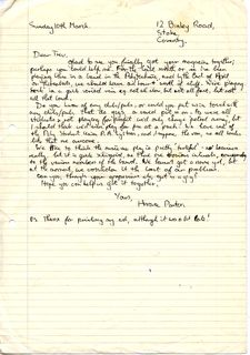 Horace Panter's Letter to Hobo Magazine in the 70's