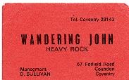 Wandering John band card