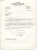 Coventry Evening Telegraph letter